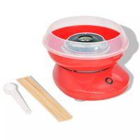 Zuckerwattemaschine | Automat Zuckerwattegerät 480 W - mit 10 * Süßigkeiten Floss Sticks + 1 * Zuckerlöffel | Rot | Edelstahl