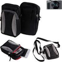 Für Canon PowerShot SX620 HS Gürtel Tasche Holster Umhänge Tasche Fototasche Schutz Hülle für Canon PowerShot SX620 HS, schwarz-grau + Extrafach