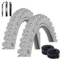 Angebot-Set / 2 x Kenda MTB K-829 Fahrradreifen Fahrradmantel in Grau 50-559 (26 x 1.95) + 2 passende Schläuche AV inkl. 3 Reifenheber