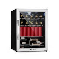 Klarstein Beersafe XL Mix It Edition - Kühlschrank, Getränkekühlschrank, Mini-Kühlschrank, Mini-Bar, 0 bis 13°C, 60 Liter, LED, 4 Metallroste, Glastür, leise, Silber-schwarz