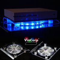 XBOX One , S , X , 360 USB Design Ständer + Lüfter / Kühler in Blau LED Stand Unterlage