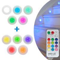Handy Lux Color Click 10 Stück kabellose LED Leuchten Safe touch Oberfläche Fernbedienung Klebepads kein Bohren Mediashop