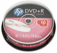 10 HP Rohlinge DVD+R Double Layer 8,5GB 8x Spindel