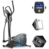 Hop-Sport Crosstrainer HS-060C Ergometer Elliptical Heimtrainer  Smartphone Steuerung blau inkl. Unterlegmatte