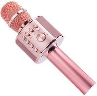 Bluetooth Karaoke Mikrofon,  4 in 1 Kabellos Mikrophon mit eingebauten Lautsprechern, Handheld Karaoke Mic für Gesang und Aufnahme,  Kompatibel mit Android/iOS/PC