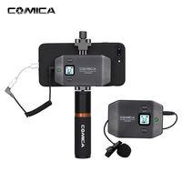 COMICA CVM-WS50 (B) 6-Kanal UHF Wireless Smartphone Lavalier-Mikrofon-System 197ft Reichweite mit Handyhalter + Grip + Tragetasche fuer iPhone Samsung Huawei Video Vlogging
