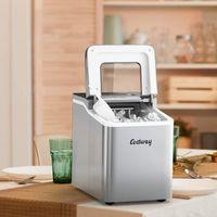 COSTWAY Eiswürfelmaschine Ice Maker, Eismaschine, Eiswürfelbereiter inkl. Eiswürfelschaufel / 9 Eiswürfel in 8 min / 12kg in 24 Std. / 1,6L Wassertank / 31x22x30cm Silber