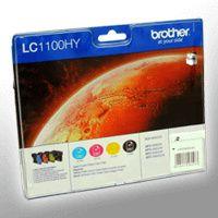 Brother LC1100HY Value Pack - 4er-Pack - Hohe Ergiebigkeit - Schwarz, Gelb, Cyan, Magenta - Original - Tintenpatrone