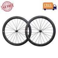 ICAN Carbon Laufräder BD50 Disc Rennrad Laufradsatz 700C Drahtreifen Tubeless Ready Scheibenbremse Centerlock 12x100/12x142mm 1678g