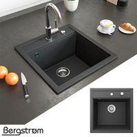 Bergström Granit Spüle Küchenspüle Einbauspüle Spülbecken 490x500mm Schwarz