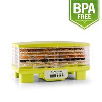Klarstein Bananarama - Dörrgerät, Dörrautomat, Obst-, Fleisch- und Früchte-Trockner, 6 Etagen, stapelbar, 550 W, einstellbare Temperatur, Umluftbetrieb, LCD-Display, BPA-frei, grün/gelb