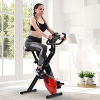 Merax Heimtrainer Fitnessbike Faltbares X-bike mit gepolstertem Sitz und LCD Display, Magnetische Fitnessfahrrad Fitnessgeräte, Max. Benutzergewicht 120 kg, Rot