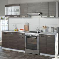 Vicco Küche Raul Küchenzeile Küchenblock Einbauküche 240 cm Anthrazit