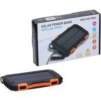 Solar-Powerbank mit LED Taschenlampe, praktischem Clip