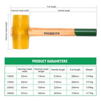 51000 Transparenter gelber Gummihammer Dual Face Fliesenhammer mit Holzgriff
