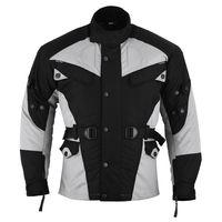 Motorradjacke Textilien Schwarz/Hellgrau, Größe:50/M