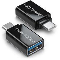 deleyCON USB C OTG Adapter - USB zu USB C - Für Handy Smartphone Tablet Laptop MacBook Chromebook - 2 Stück - Schwarz