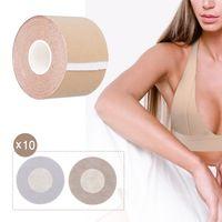 CHARMINER Boob Tape, Breast Lift Tape und 3 Paar selbstklebende Nippelabdeckungen, wiederverwendbarer selbstklebender BH für A-E Cup Brustfreundlich Push Up Strong Support und Style Shape