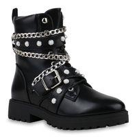 Damen Stiefeletten Leicht Gefütterte Biker Boots Schnallen Stiefel 835883 Schuhe