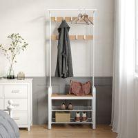 Garderobenständer mit Schuhablagen aus Holz und Metall 183 x 72 x 33,7 cm Kleiderständer mit 9 Haken weiß VASAGLE HSR40W