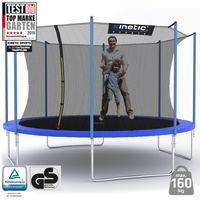 Kinetic Sports Outdoor Gartentrampolin Ø 400 cm, TPLH13, Komplettset inklusive Sprungtuch aus USA PP-Mesh +Sicherheitsnetz +Randabdeckung, bis zu 160kg, , UV-beständig, BLAU