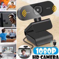 Autofocus Drehbar Webcam HD 1080P/30fps mit Mikrofonen Webkamera für Streaming, Mini Computer USB Clip-on Camera für Video Chat