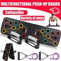 Faltbare Push Up Rack Board 13 in 1 Liegestützbrett mit Handgriffen, Farbcodiert für Muskeltraining Krafttraining Fitness Trainer rutschfeste