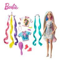 Barbie Fantasie-Haar Puppe (blond), Meerjungfrau- und Einhorn-Look, Anziehpuppe