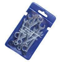 10er Ring-Maulschlüssel Set Schraubenschlüssel Satz Silber Metric Set