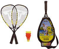 Talbot-Torro Speed-Badminton Set Speed 4400, 2 handliche Alu-Rackets 54,5cm, 3 windstabile Bälle, im 3/4 Bag, gelb-schwarz
