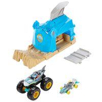 "Hot Wheels Monster Trucks ""Shark"" Startrampe Spielset inkl. 2 Spielzeugautos"