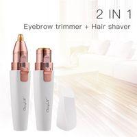 CkeyiN Augenbrauen Rasier 2 In 1 Gesichtshaarentferner Damen 3D wiederaufladbar Augenbrauen Trimmer in Stiftgröße mit 2 austauschbaren Köpfen