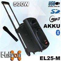 E-Lektron EL25-M 500W mobile PA Soundanlage Akku-MP3-USB-Bluetooth inkl. Funkmikrofon Soundsystem