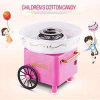 WYCTIN 500W Zuckerwattemaschine Zuckerwattegerät Candymaker Automat mit Wagen Rosa 30x30x25cm