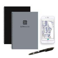 ELFIN intelligentes Notizbuch, wiederverwendbar / wasserdicht / Cloud Storage für Hand-Schreiben / Notizen / Zeichnung / Skizzierung Grau