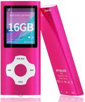 TIMOOM MP3 / MP4-Musikplayer mit 16 GB Speicherkarte (erweiterbar auf 128 GB), unterstützt Foto-Viewer, Diktiergerät, UKW-Radio, E-Book-Kopfhörer, Farbe Pink