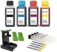 Druckerpatronen Nachfüllset  für HP Patronen Nr. 305 black und color (XL) Patronen - 4 x 100 ml Nachfülltinte black, cyan, magenta, yellow mit Zubehör und Befüllanleitung