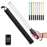 LIYADI RGB Handheld LED Lichtstab Wiederaufladbarer Fotografie Leuchtstab 10 Beleuchtungsmodi 12 Helligkeitsstufen 1000 Lumen 3200-5600K Farbtemperatur mit tragbarer Taschen-Haengeschlaufe Fernbedienung