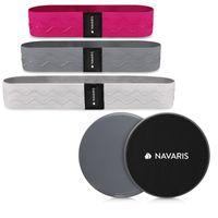 Navaris Fitness Bänder Set für Sport - Fitnessbänder Widerstandsbänder für Gym Zuhause - Po Rücken Beine Training - mit Gleitscheiben und Tasche