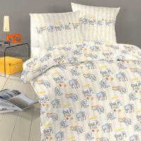 Schlafgut Kinderbettwäsche Elefanten 100x135 cm 100% Baumwolle - creme / beige
