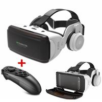 Original VR Virtual Reality 3D Brillenbox Stereo VR Google Cardboard Headset-Helm für IOS Android Smartphone, Bluetooth Wippe