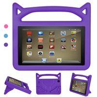 Hülle für All-New Amazon Fire HD 8 Tablet (7th & 8th Generation – 2016 & 2018 Modell) - Superleicht Eva Kids Shock Proof Cover Stoßfest Kindgerechte Schutzhülle, Lila
