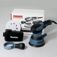 Makita BO5041 Profi-Elektro-Exzenterschleifer, 300 Watt, 125 mm Schleiffläche, variable Geschwindigkeit, Staubabsaugung