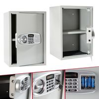 AREBOS Tresor Safe Elektronischer Möbeltresor Schranktresor Wandtresor Digital Silber