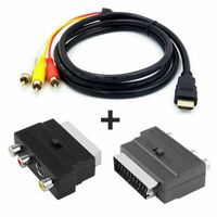1080P HDMI S-Video zu 3 RCA AV-Audiokabel mit SCART zu 3RCA Phono Adapter