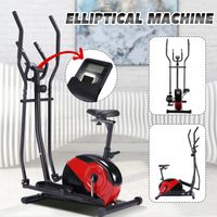 Lumiereholic Ellipsentrainer Crosstrainer Heimtrainer Fahrradtrainer Sport Indoor Fitness Max.120kg Belastbar,rot und schwarz