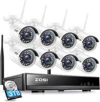 ZOSI 8CH 1080P H.265+ Außen WLAN Überwachungsset mit 3TB Festplatte und (8) 2MP Funk Video Überwachungkamera Set