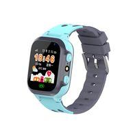 Kinder Touchscreen Smartwatch LBS Tracker Telefon Uhr mit SOS Anruf Kamera Wecker Voice Chat Geschenke für Kinder (Blau)