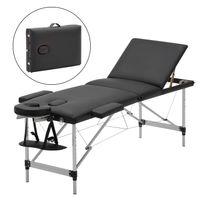 mobile Massageliege klappbare Therapieliege tragbares Massagebett leichter Massagetisch 3 Zonen mit höhenverstellbaren Aluminiumfüße - Schwarz - Meerveil