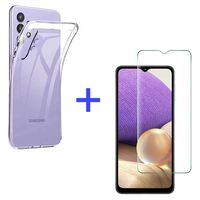 Samsung Galaxy A32 5G Panzerglas Schutz Folie Hart-Glas + Schutzhülle Transparent Silikon Case Full-Cover Full Screen